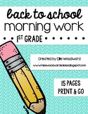 Back to School Morning Work- 1st Grade