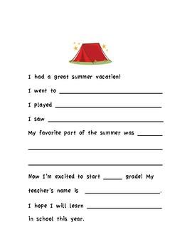 Back to School Morning Work Sheet
