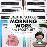 Back to School Morning Work and Classroom Procedure Book i