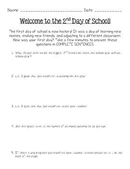 Back to School Morning Worksheet