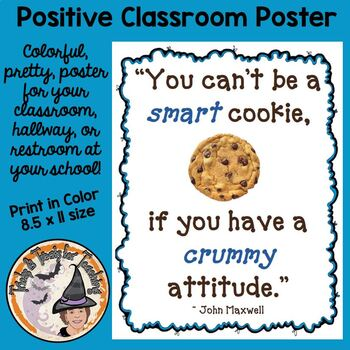 Back to School Motivational Quote Poster Can't Be Smart Cookie w/Crummy Attitude