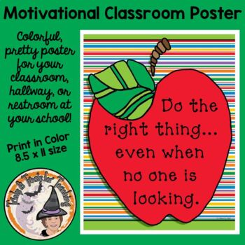 Back to School Motivational Saying Class Poster Do the Right Thing Door Sign