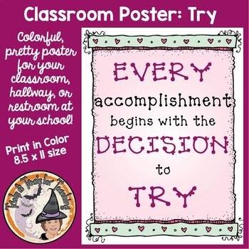 FREE Back to School Motivational Classroom Quote Poster Accomplishment Begins