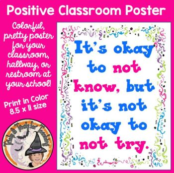 Back to School Motivational Quote Classroom Poster Door Sign Know Try Okay