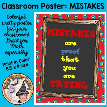 FREE Back to School Motivational Classroom Poster Mistakes are Proof of Trying