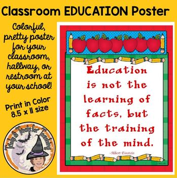 Back to School Motivational Classroom Poster Quote Educati