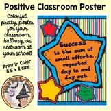 Back to School Motivational Quote Classroom Poster Success Effort Door Sign