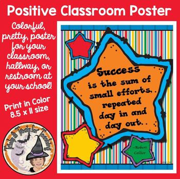 Back to School Motivational Quote Classroom Poster Success