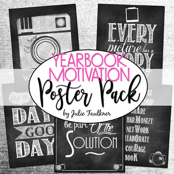 Back to School Motivational Inspirational Quotes Posters Set for Yearbook, 5 Set