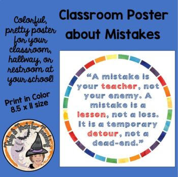 Back to School Motivational Poster Quote about Mistakes being your Teacher