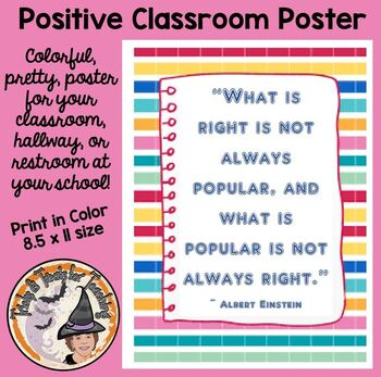 Back to School Motivational Poster What Is Right What Is Popular Quote Einstein