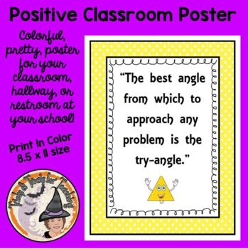 Back to School Motivational Quote about Trying Poster Math Triangle Try Angle