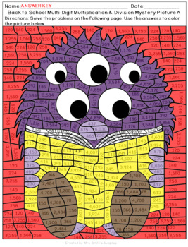 Back to School Multi-Digit Multiplication and Division Mystery Pictures