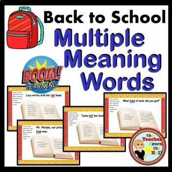 BOOM Cards  Back to School Multiple Meaning Words  - BOOM Cards! (24Cards )