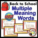 Back to School Multiple Meaning Words Boom Cards Digital V