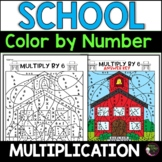 Back to School  Multiplication Color by Number- 2's to 12's