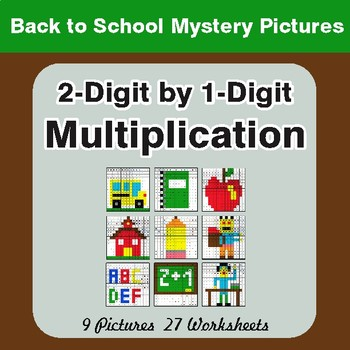 Back to School: Multiplication Math Mystery Pictures (2-Digit x 1-Digit)
