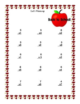 Back to School-Multiplication Practice for Grades 4 and 5
