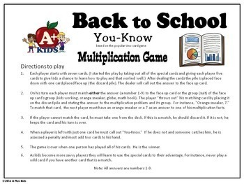 Back to School Multiplication Game You-Know