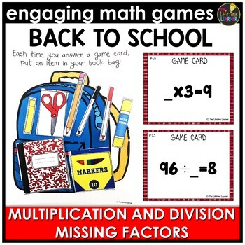 Back to School Multiplication and Division Missing Factors