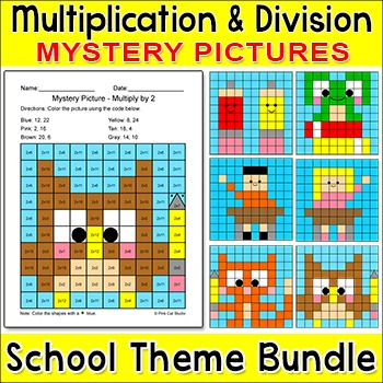 Multiplication and Division Mystery Pictures - School Theme