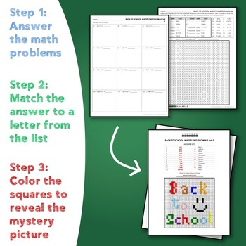 Back to School Multiplying Decimals Mystery Pictures