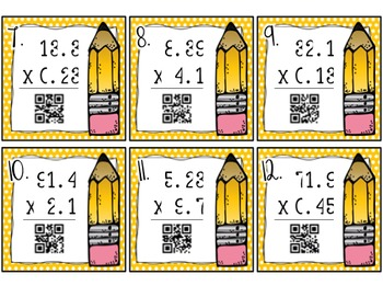 Multiplying Decimals Task Cards with QR Codes