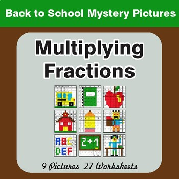 Back to School: Multiplying Fractions - Color-By-Number Mystery Pictures