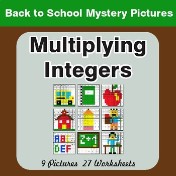 Back to School: Multiplying Integers - Color-By-Number Mystery Pictures