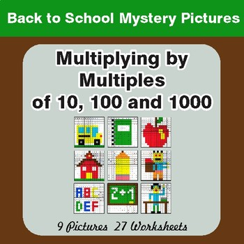 Back to School:  Multipying by 10, 100, 1000 Math Mystery Pictures