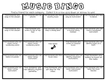 Back to School Music Bingo for 3rd, 4th, & 5th Grade