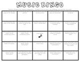 Back to School Music Bingo for 3rd, 4th, & 5th Grade