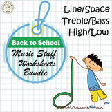 Music Staff Worksheets Bundle | Back to School Themed