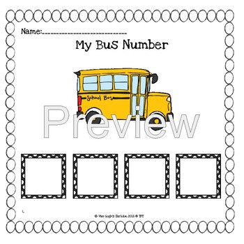 Back to School: My Bus Number Lap Book