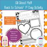 Back to School- My Summer Vacation Worksheet for 1st Day of School