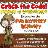 Back to School Mystery Activity (Crack the codes on 8 review worksheets!)