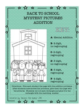 Back to School Mystery Math Pictures Addition & Subtraction-Differentiation!!