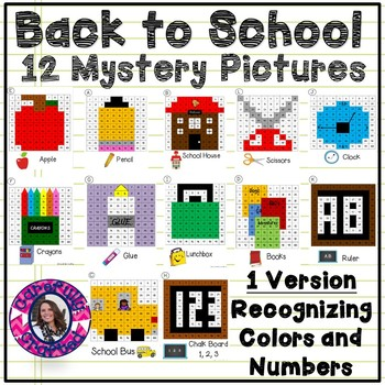 Back To School Mystery Pictures- Hundreds Chart Recognizing Colors