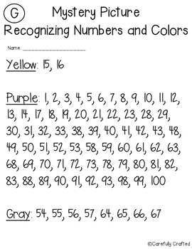 Back to School Mystery Pictures- Hundreds Chart Recognizing Colors & Numbers