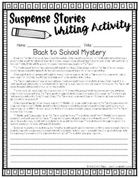 Back to School Mystery: Suspense Stories Writing Activity