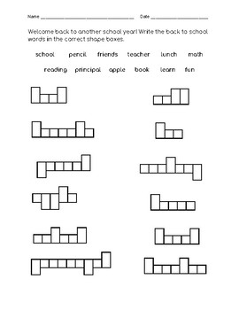Back to School Mystery Word Shapes