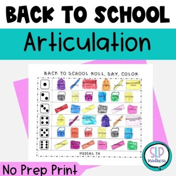 Back to School NO PREP Articulation Roll Say Color Speech