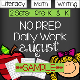Back to School - NO PREP Daily Literacy & Math SAMPLE - CC