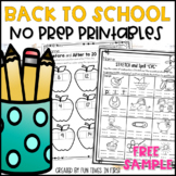 Back to School NO PREP First Grade FREE Sample | Distance