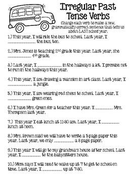 Back to School NO PREP Language Worksheets