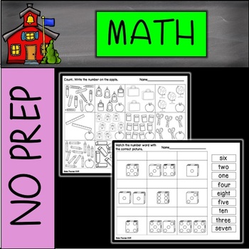 Back to School NO PREP Math Printables First Grade