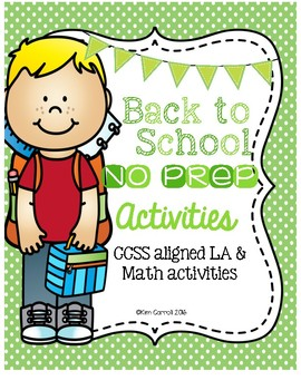 Back to School NO PREP Printables