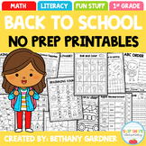 Back to School NO PREP Printables Packet - August/Septembe