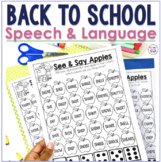 Back to School NO PREP Speech & Language Therapy