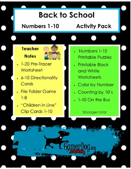 Back to School - NUMBERS 1-10 Activity Pack